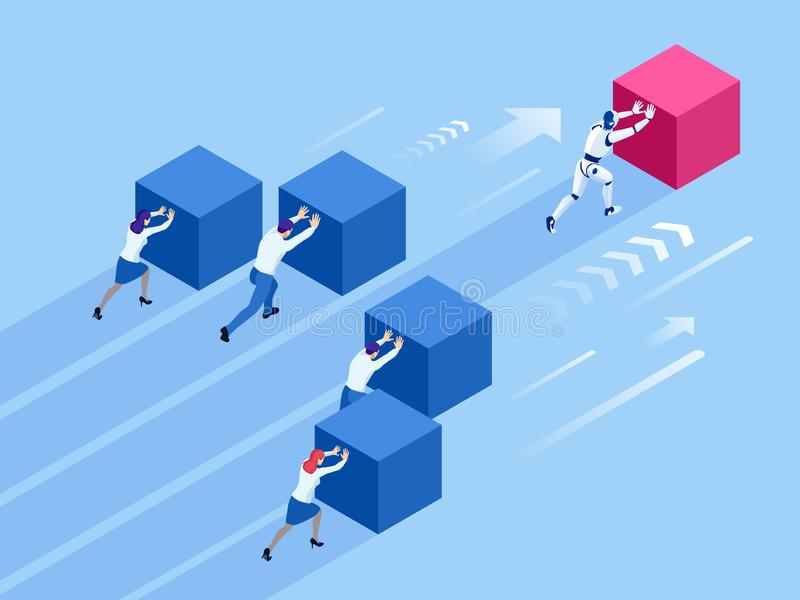 等量推挤立方体的商人和机器人 容易地移动立方体的机器人 人对机器人 赢取的方法 库存例证
