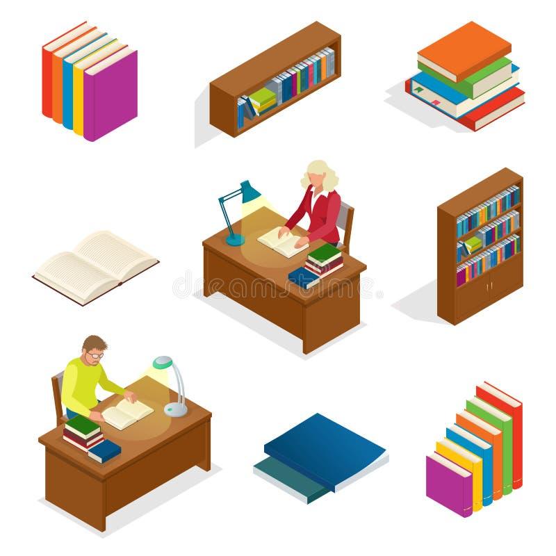 等量教育概念 图书馆元素书橱,书架 人读一本书在桌上 使用为 皇族释放例证
