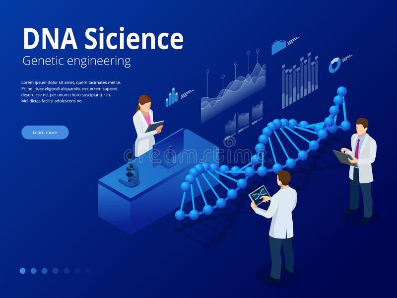 等量数字式脱氧核糖核酸结构在蓝色背景中 科学概念 脱氧核糖核酸序列,纳米技术传染媒介例证 皇族释放例证