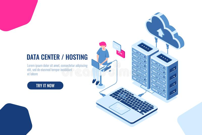 等量数据的演算和验核,工程师与云彩存贮一起使用,服务器室、datacenter和数据库象 库存例证