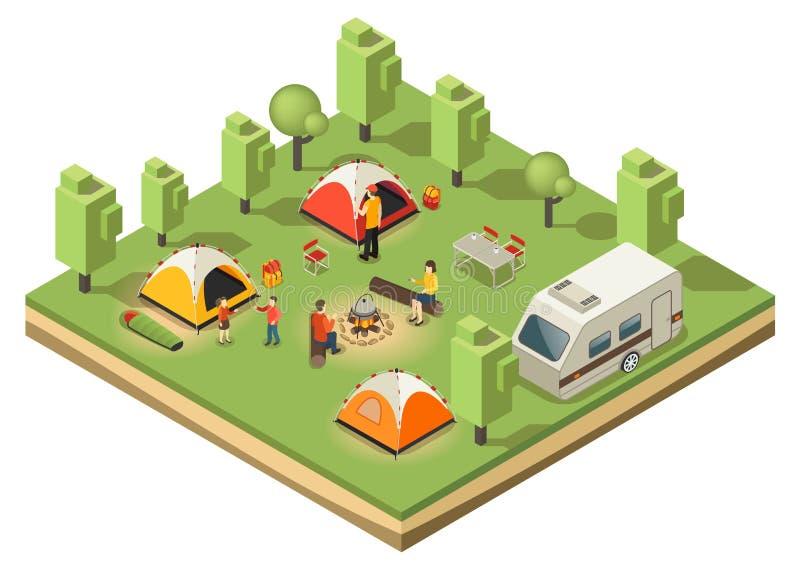 等量旅行的野营的概念 向量例证