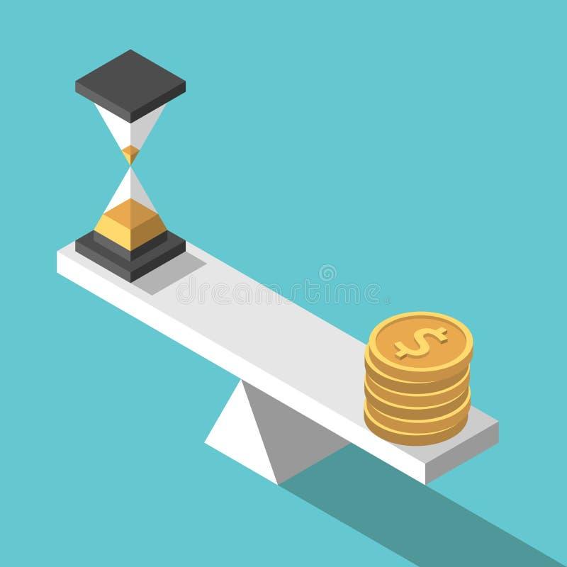 等量时间,金钱,平衡 向量例证