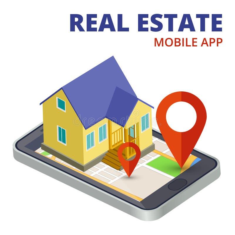 等量有电话和3d房子传染媒介的不动产流动应用程序 向量例证