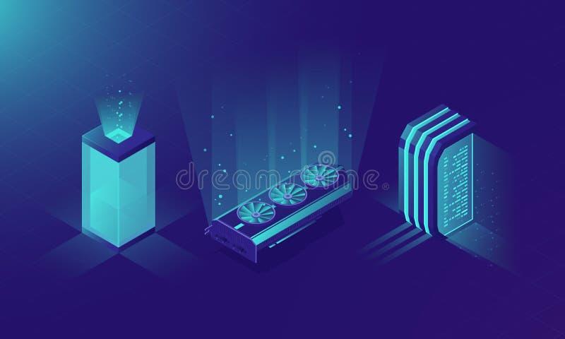 等量服务器室,传染媒介服务器的概念折磨,霓虹设计,采矿设备集合,显示卡数据中心和 向量例证