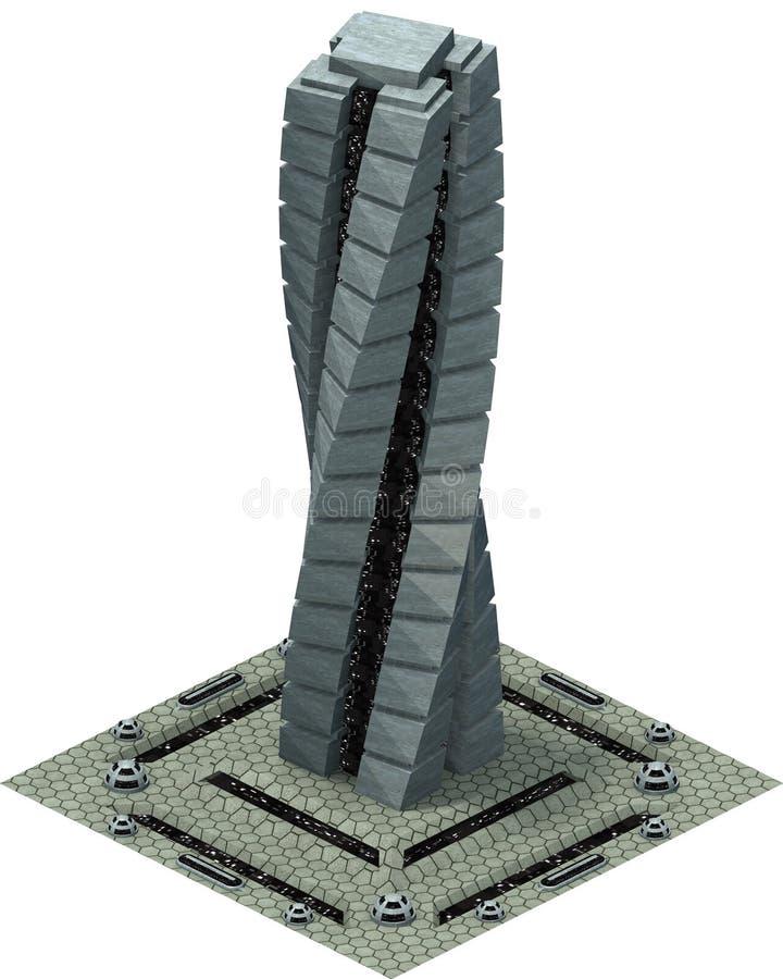 等量未来派科学幻想小说建筑学,未来摩天大楼 3d翻译 皇族释放例证