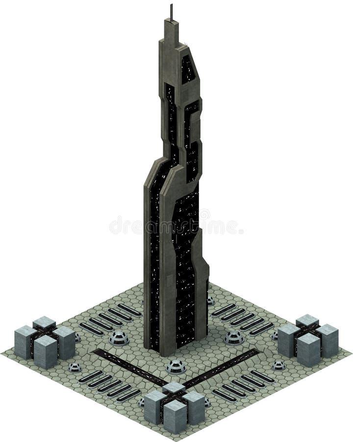 等量未来派科学幻想小说建筑学,现代大厦 3d翻译 库存例证