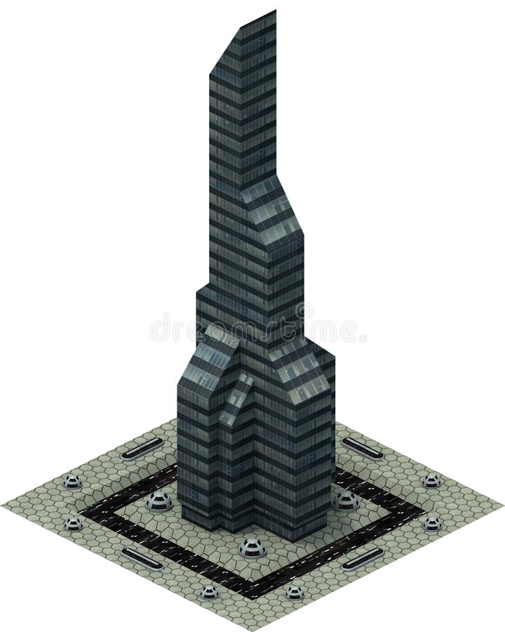 等量未来派科学幻想小说建筑学,现代摩天大楼 3d翻译 向量例证