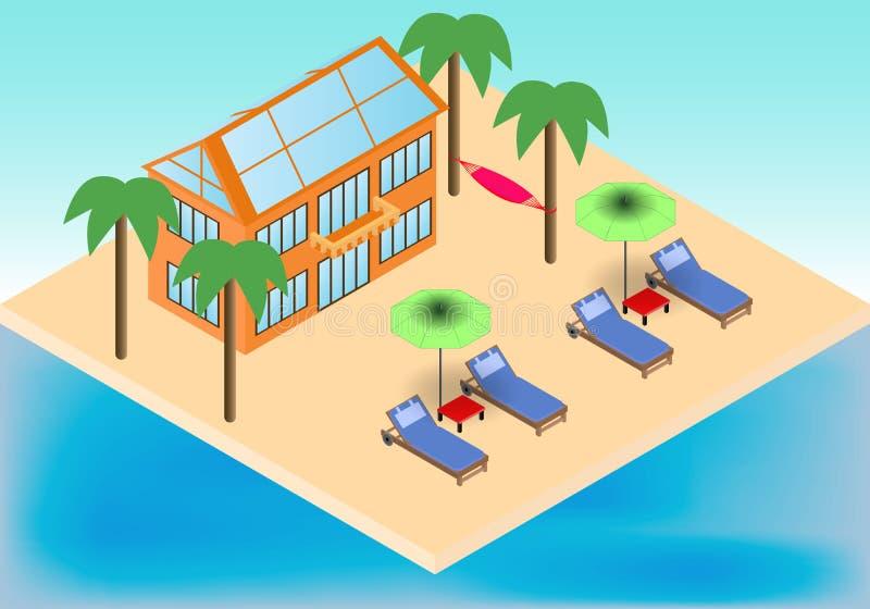 等量村庄,扶手椅子,伞,在热带海滩的吊床与棕榈 库存例证