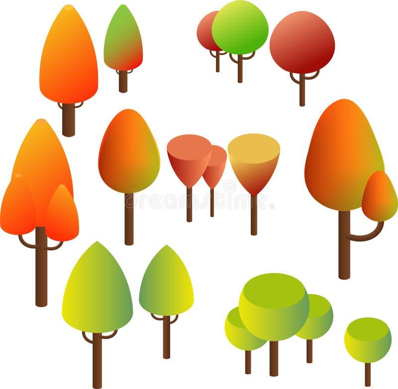 等量树,灌木 夏天绿色和黄色秋天叶子 皇族释放例证
