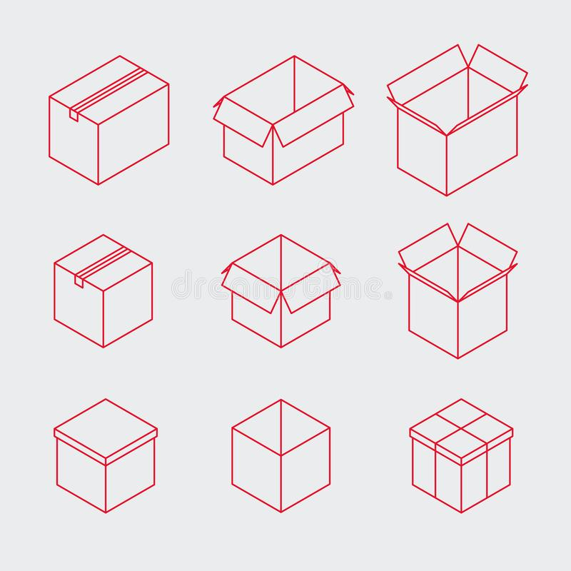 等量概述箱子象集合 库存例证