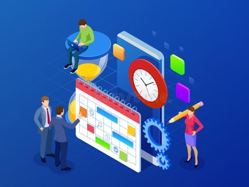 等量每周日程表和日历计划者组织管理 网上应用程序企业工作流,时间管理 向量例证