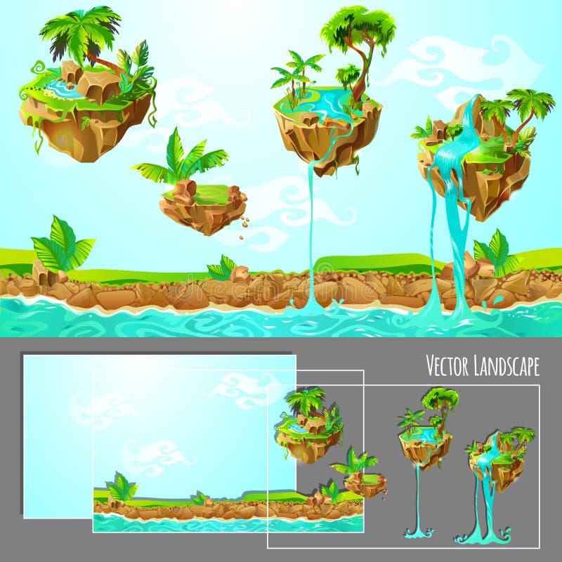 等量比赛热带自然风景模板 向量例证