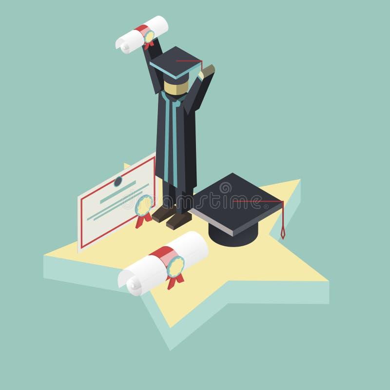 等量毕业场面学生拿着文凭 向量例证