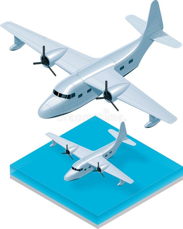 等量水上飞机向量 向量例证