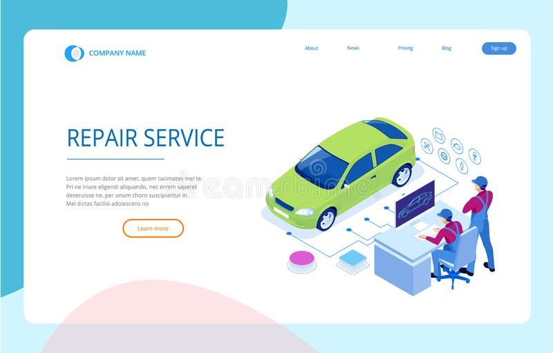 等量汽车修理服务站 汽车服务轮胎服务和汽车修理传染媒介例证的工作者 向量例证