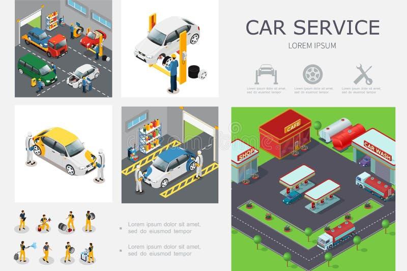等量汽车服务Infographic模板 向量例证