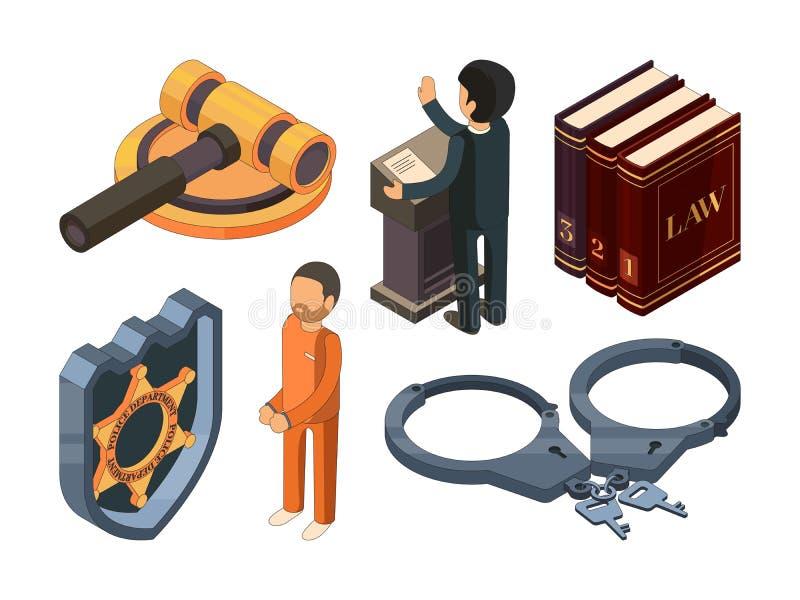等量法律的正义 在白色隔绝的法律hamer法庭处罚起诉3d传染媒介标志 皇族释放例证