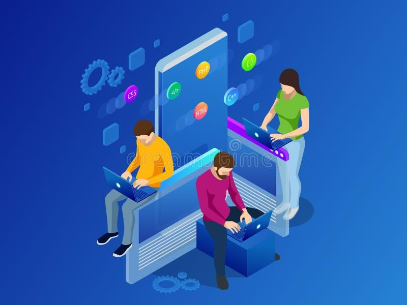 等量流动应用概念 开发的编程和编码技术概念 UX UI用户界面和 皇族释放例证
