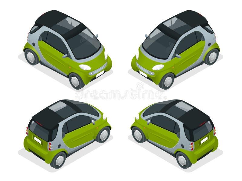 等量混合动力车辆 在白色背景隔绝的城市汽车 传染媒介紧凑巧妙的汽车 被隔绝的车 向量例证