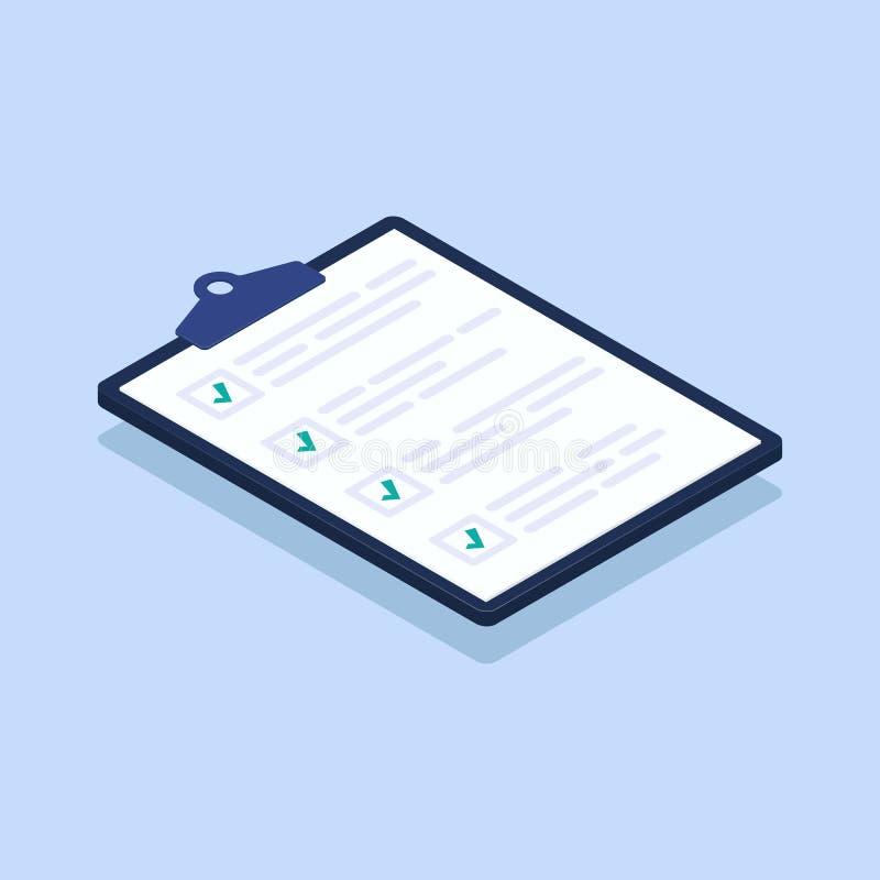 等量清单传染媒介例证 有纸片的垫和与被检查的复选框的任务名单 库存例证