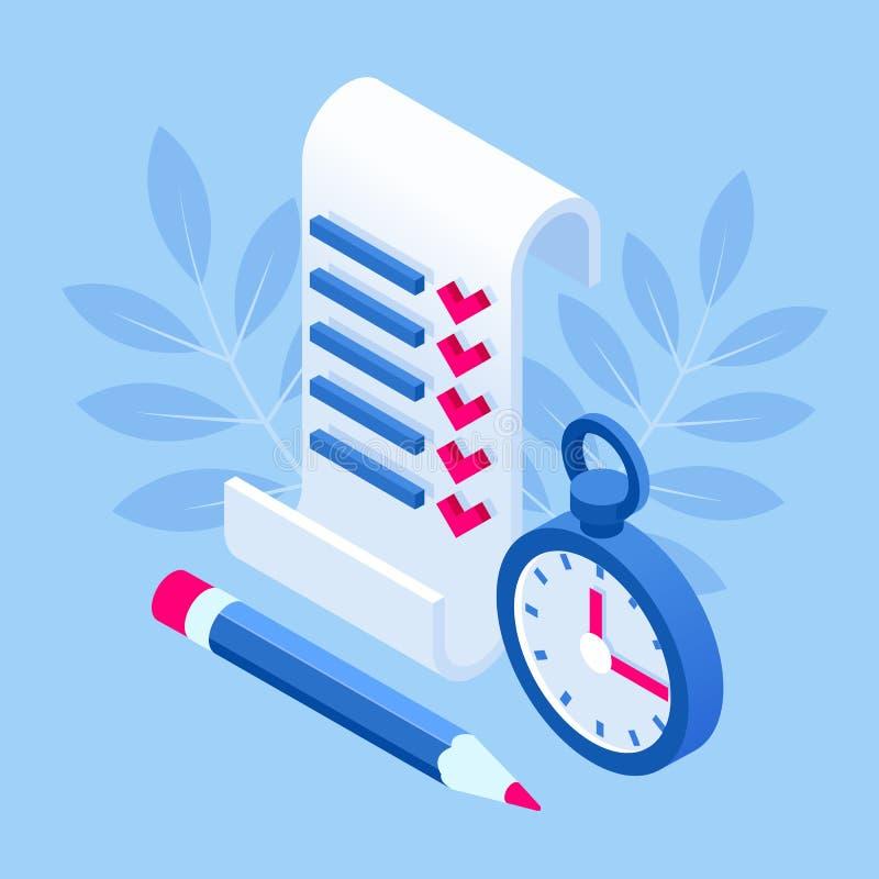 等量清单和做有清单项目管理的名单剪贴板,计划和保留比分  向量例证