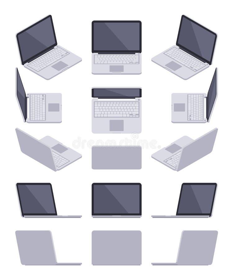 等量灰色膝上型计算机 向量例证