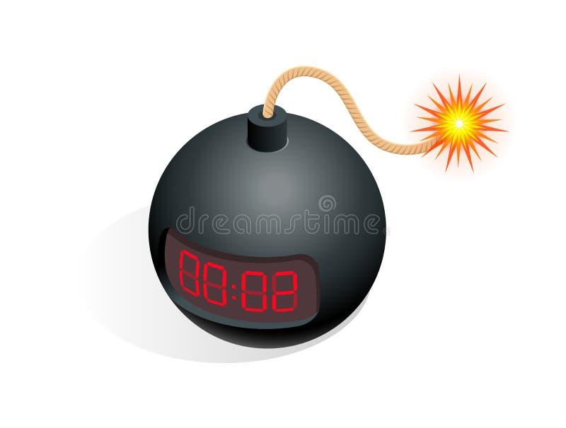等量炸弹象 导航例证TNT与在白色隔绝的数字式读秒定时器时钟的定时炸弹炸药 皇族释放例证