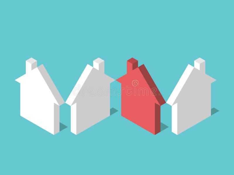 等量独特的红色房子 皇族释放例证