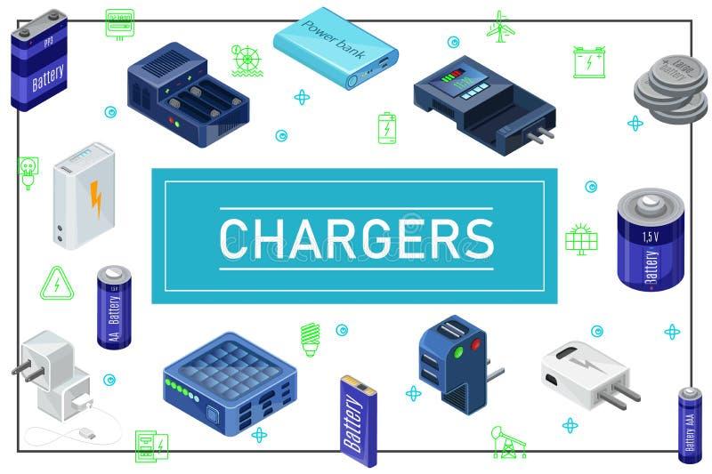 等量现代充电的来源概念 皇族释放例证