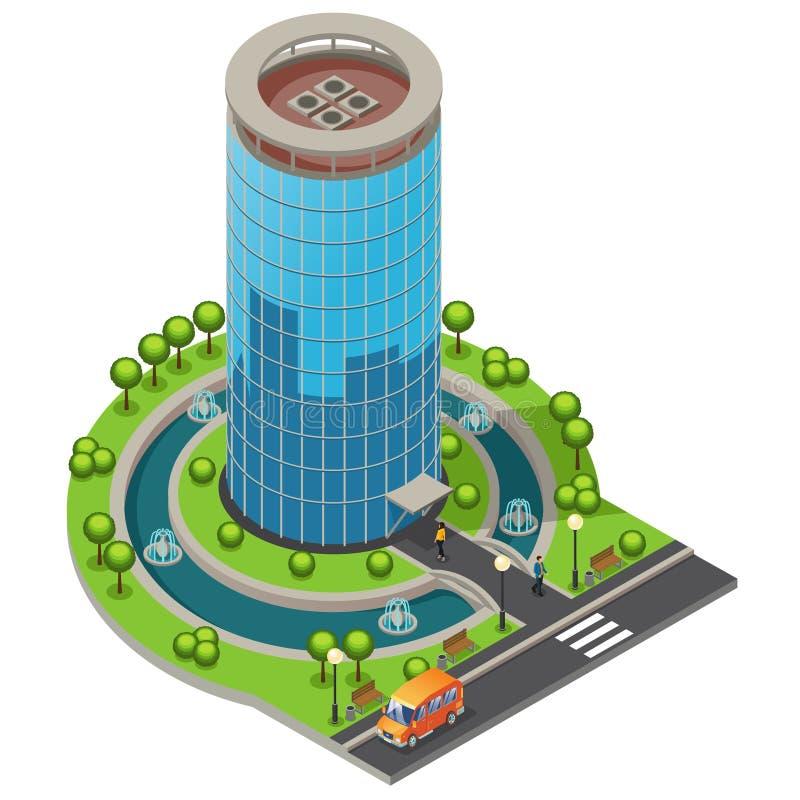 等量现代玻璃办公楼概念 皇族释放例证