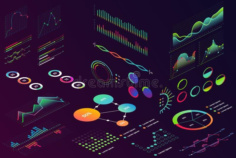 等量现代霓虹颜色样式数据财务图表,企业infographic的财务图 波浪注标数据,第2 皇族释放例证