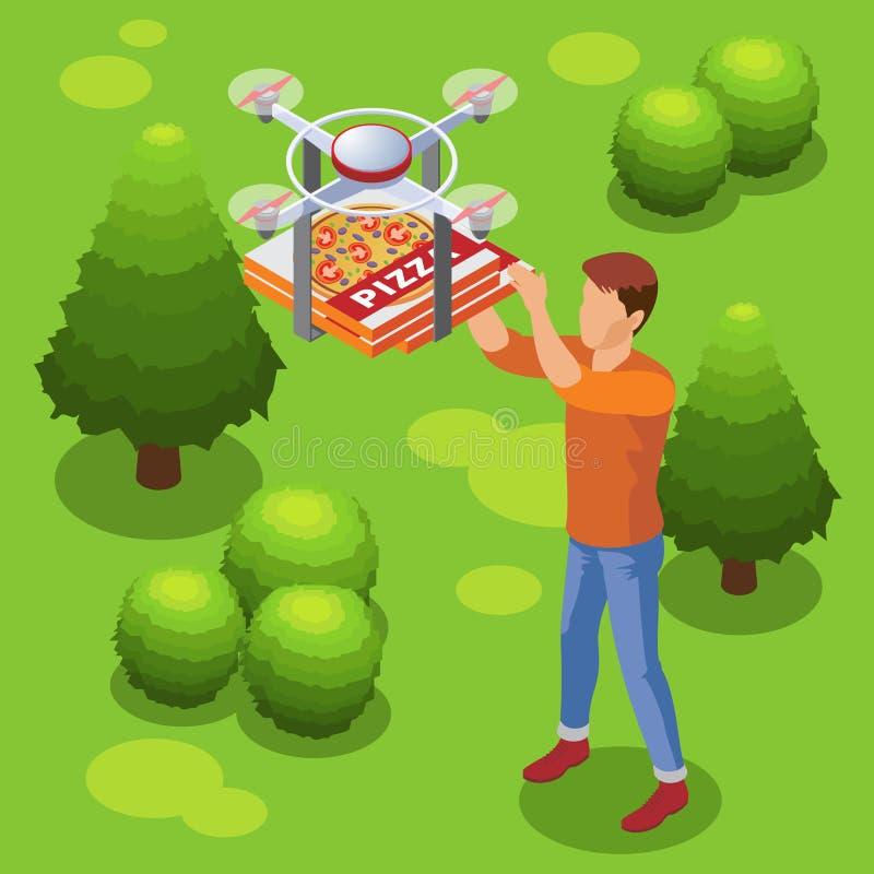 等量现代食物送货业务模板 向量例证
