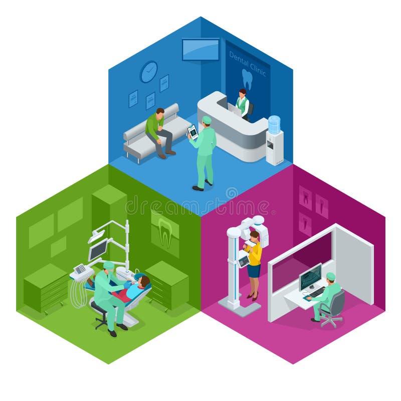 等量现代口腔实习 牙齿牙医使用的椅子和其他辅助部件在蓝色,军医,招待会,细节 向量例证