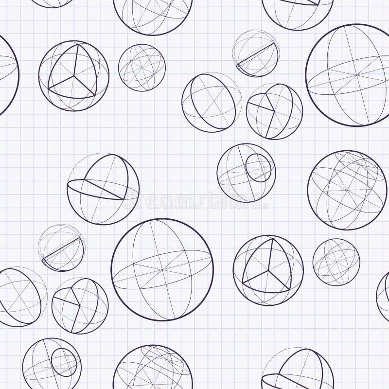 等量球传染媒介无缝的样式数学纹理学校背景 库存例证