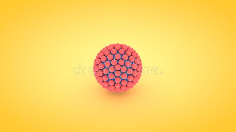 等量球形原子列阵例证, 3D翻译 库存例证