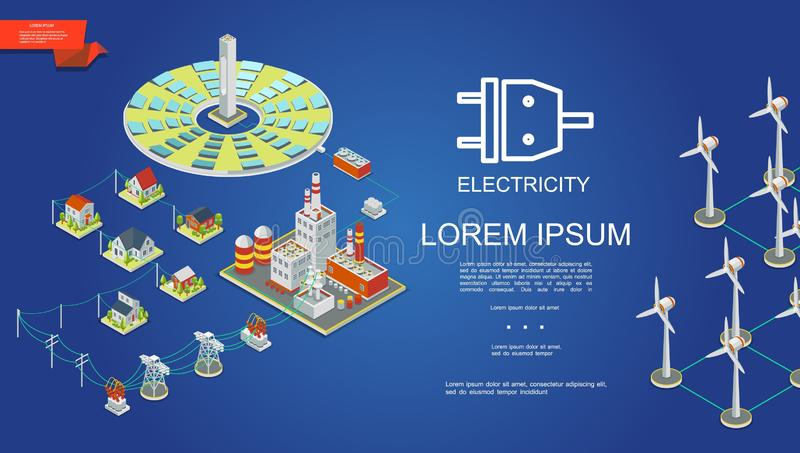 等量电力生产概念 皇族释放例证