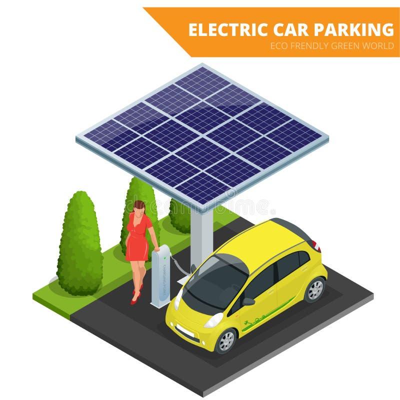 等量电车停车处,电子汽车 生态学的概念 Eco友好的绿色世界 等量平的3d的传染媒介 向量例证
