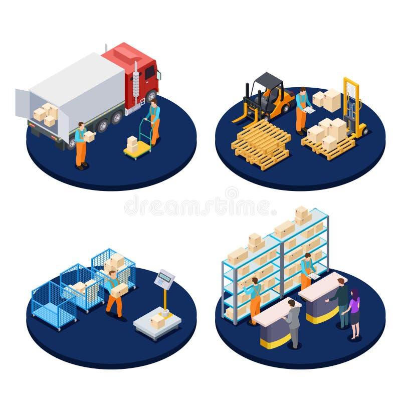 等量的交付 后勤,配给物仓库,小包交付等量传染媒介概念 向量例证