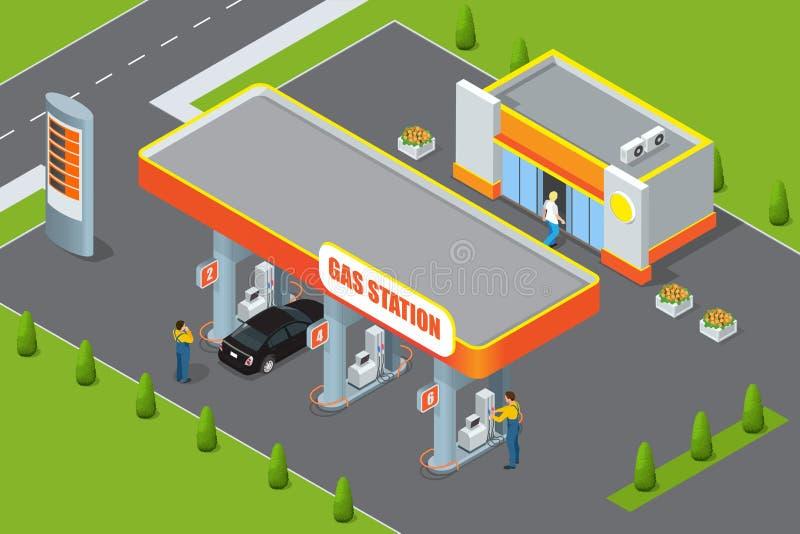 等量的加油站3d 加油站概念 加油站平的传染媒介例证 燃油泵,汽车,商店,油驻地 库存例证