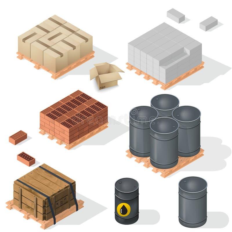 等量的建筑材料 向量例证