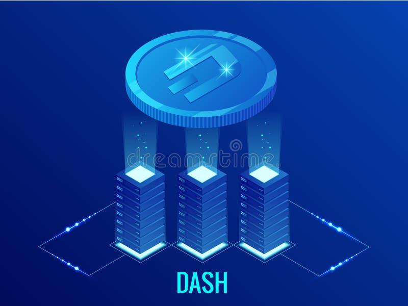 等量破折号Cryptocurrency采矿农场 Blockchain技术、cryptocurrency和一个数字式付款网络为 皇族释放例证