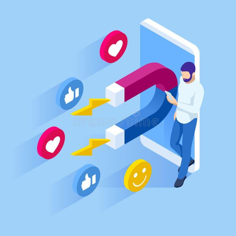 等量社会媒介喜欢并且跟随或者销售磁铁允诺的追随者概念 库存例证