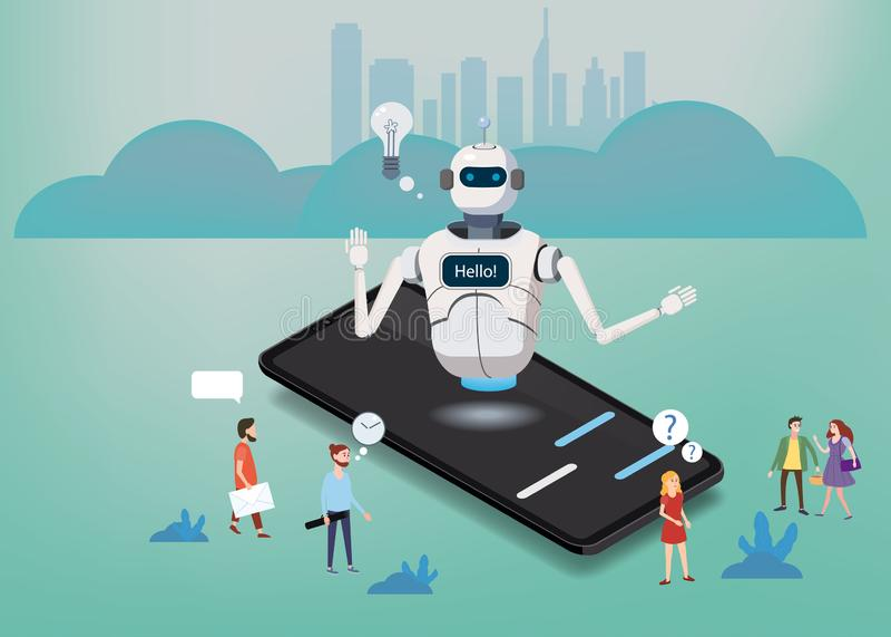 等量科学闲谈马胃蝇蛆,智能手机概念 人工智能,知识专门技术智力学会 网 向量例证
