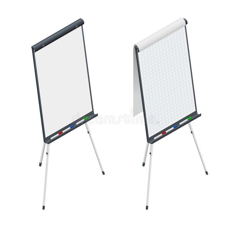 等量空白的活动挂图 Whiteboard和空的纸、介绍和研讨会 库存例证