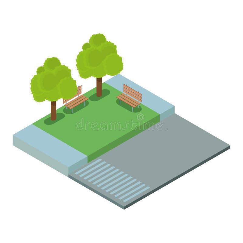 等量空的公园 向量例证