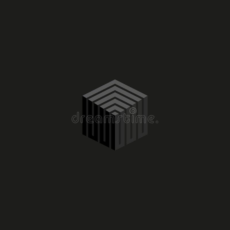 等量立方体商标透视线建筑,灰色颜色现代迷宫技术标志,想法3d箱子几何形状为 向量例证
