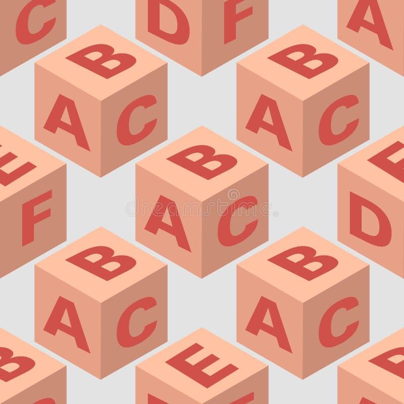 等量立方体块无缝的样式 皇族释放例证