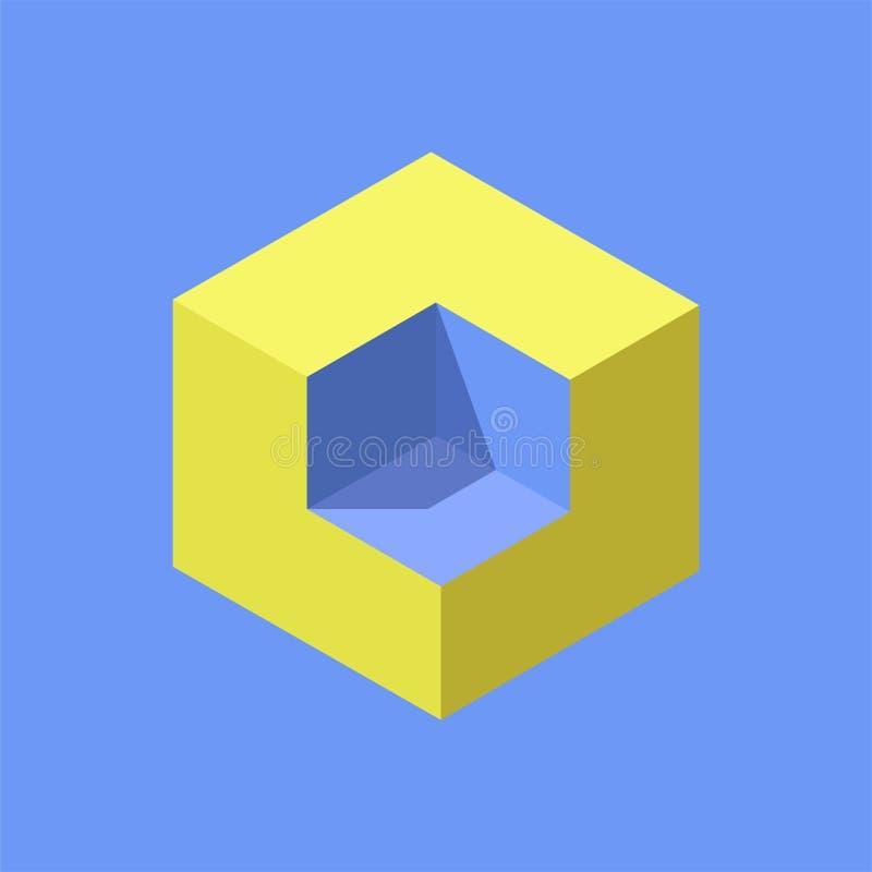 等量立方体容量从哪个去除了角落 传染媒介例证、现代商标或者象 向量例证