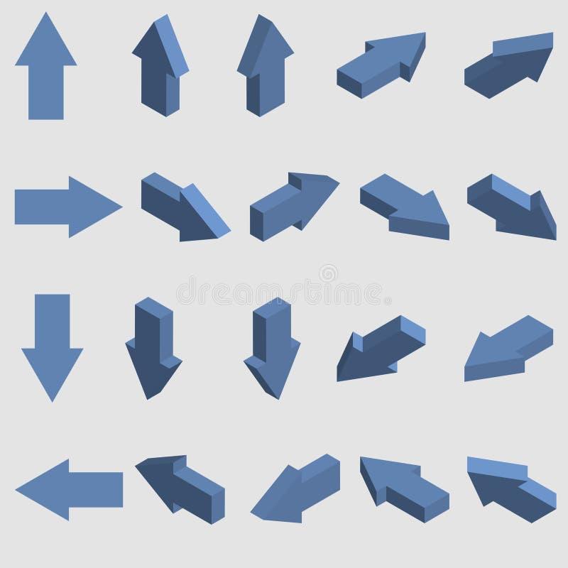 等量箭头收藏 套蓝色3d尖 向量 库存例证