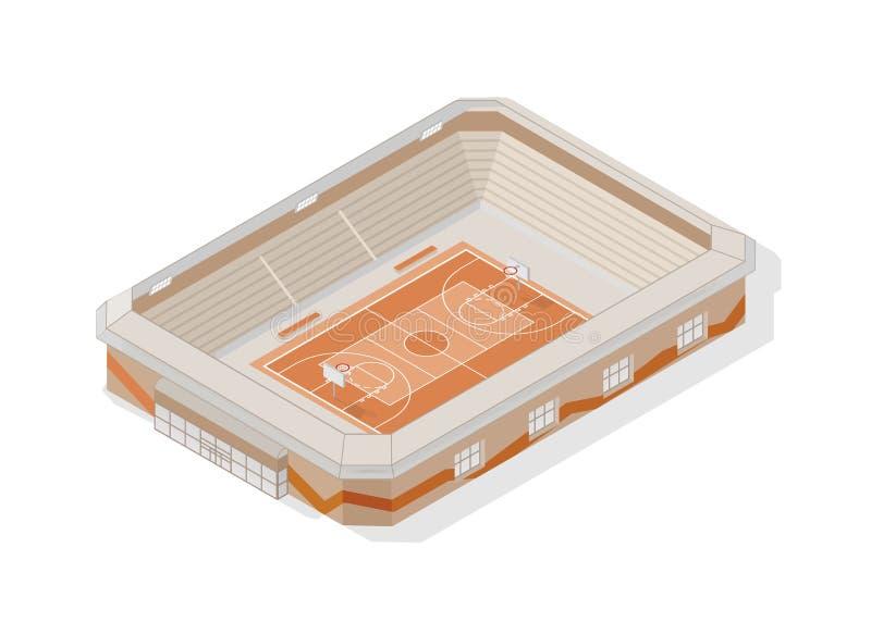 等量篮球场 在白色背景或竞技场隔绝的现代体育场 运动会比赛地点、大厦或者结构 向量例证